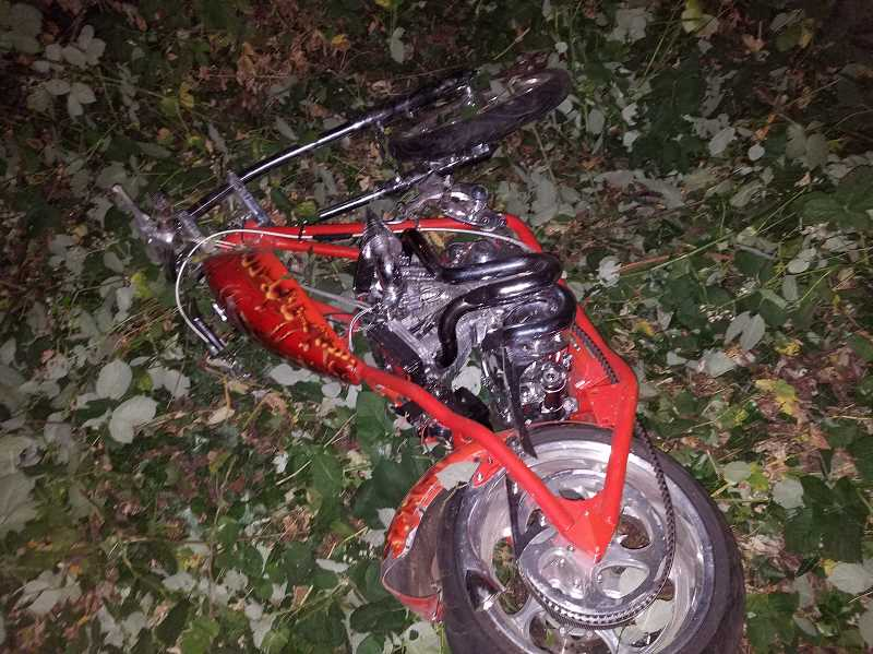 PHOTO BY OREGON STATE POLICE - Vincent Michael Merkley, 26, of Molalla, was operating a custom red Bigdog motorcycle traveling northbound on Highway 213 in Mulino Tuesday night when he rear-ended a vehicle and was ejected from his motorcycle, officials from OSP say.