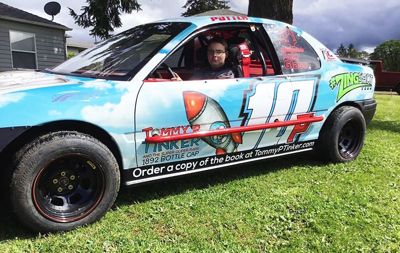 PHOTO COURTESY: BOB BERG - Berg helped to build and sponsor a four-cylinder car for reigning Tracer Division champion Ryan Potter (pictured), themed after Potter's cousin Mathew Grubb's book, 'Tommy P. Tinker and the Super Duper Rare 1892 Bottle Cap.'