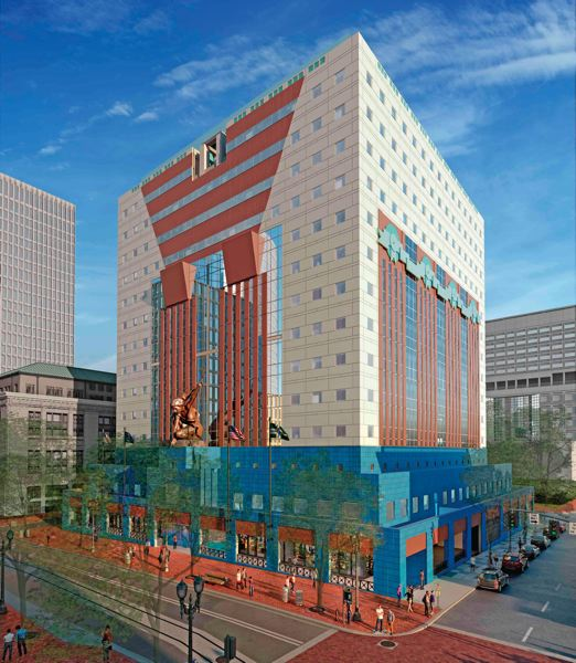 COURTESY: DLR GROUP - A rendering of how the Portland Building would look after its renovation and restoration. The design team says the $195 million project is closer to the architect's original intention. Opponents say the changes may knock the building off the National Registry of Historic Places. Note the return from blue to orange of the tabs at the base.