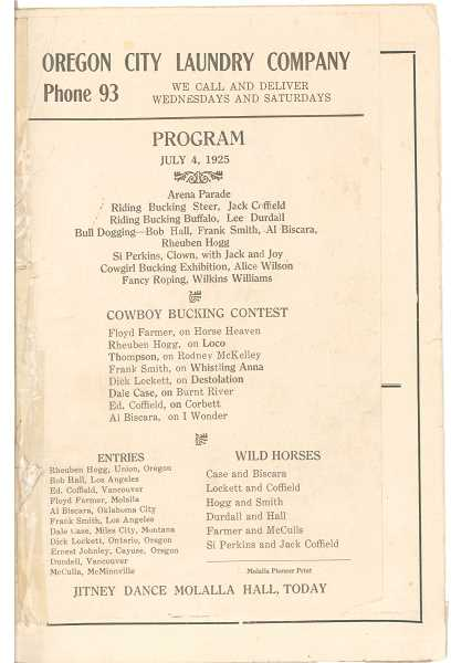 a page from the 1925 Molalla Round-Up program
