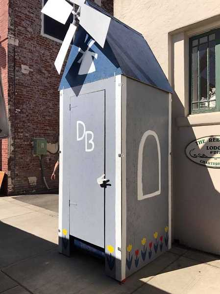 COURTESY OF AMBER GARDNER - Dutch Bros had a unique but familiar entry in a Porta Potty decorating contest held at this year's Sherwood Wine Festival.