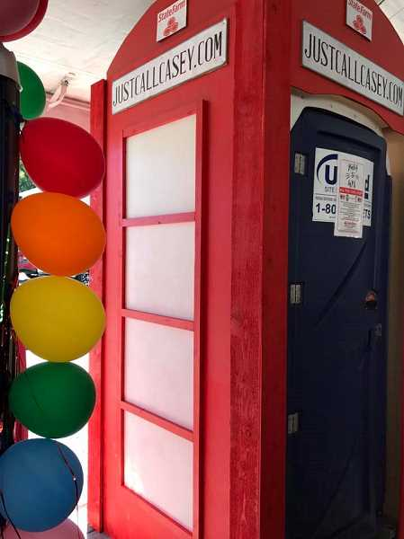 COURTESY OF AMBER GARDNER - Casey Hill State Farm Insurance's entry into the Sherwood Wine Festival's Porta Potty contest was the London Loo.