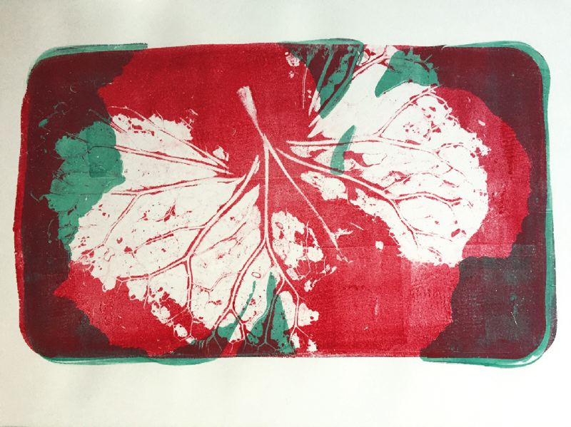 SUBMITTED PHOTO - This print by Willamette View art therapist Kristen Larsen will be on display at the Alzheimer's art exhibit at City Hall. Using a Gelli printing plate allows people to create simple or elaborate one-of-a-kind prints, she said.
