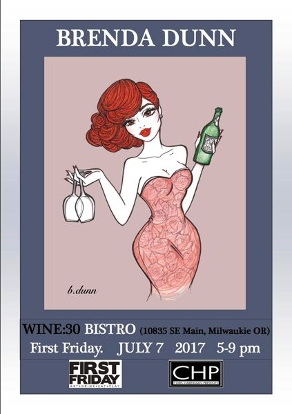 SUBMITTED PHOTO - Brenda Dunn, a Portland artist known as the pin-up girl, will show her art at both Wine:30 Bistro and Painted Lady Coffee starting on July 7.