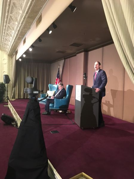 PAMPLIN MEDIA GROUP: PETER WONG - U.S. Sen. Ron Wyden, D-Ore., at the Friday Forum of the City Club of Portland.