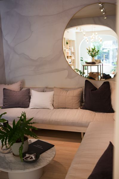 PAMPLIN MEDIA GROUP: ADAM WICKHAM - Bed and bathroom store Parachute: customers can feel fabrics on a couch instead of a bed.