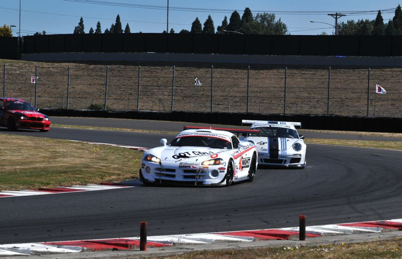 COURTESY: JEFF ZURSCHMEIDE - Scotty B. White of Auburn, Washington, leading Will Hunholz through Turn 12 in 2016, will return to Portland International Raceway this weekend to defend his Rose Cup title.
