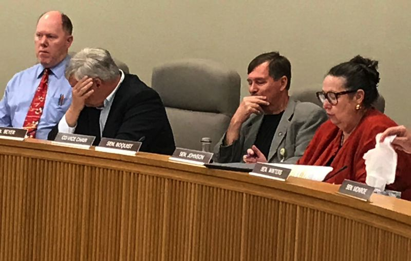 TIMES PHOTO: DANA HAYNES - Tensions ran high on Saturday as lawmakers grappled with the most ambitious transportation plan in recent sessions. Members of the committee included, from right, Sens. Betsy Johnson, Brian Boquist and Lee Beyer. Committee administrator Patrick Brennan is at left.