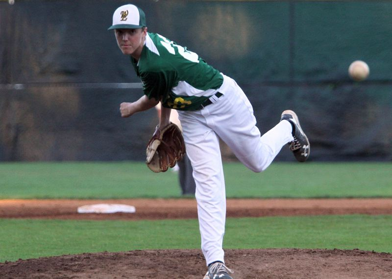 TIDINGS PHOTO: MILES VANCE - West Linn pitcher Caleb Franzen won the championship game of the 2017 Firecracker Classic at Lakeridge on Sunday, holding Camas to five hits and no walks while striking out nine.