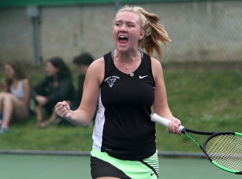 PAMPLIN MEDIA GROUP: MILES VANCE - Tigard's Lizzy Stevens, shown here in the Class 6A girls singles state championship match, was named the Prep Girls Tennis Player of the Year at the Oregon Sports Awards.