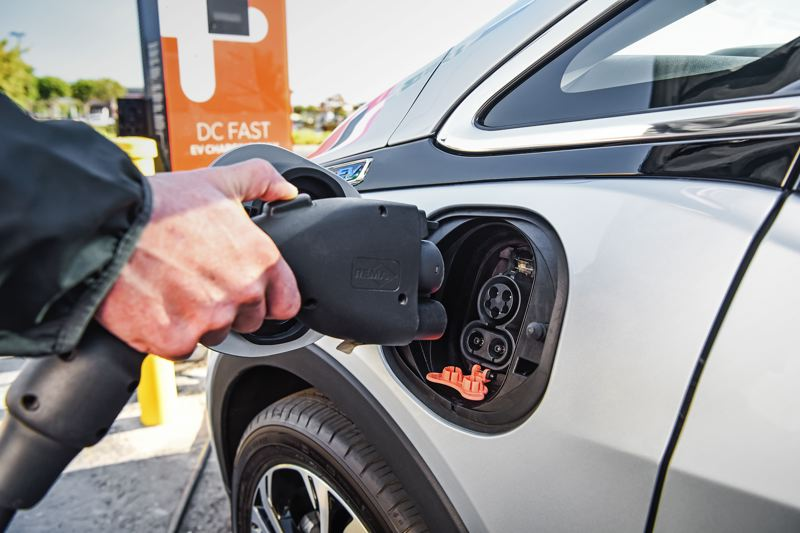 COURTESY GENERAL MOTORS CORP. - The 2017 Chevy Bolt EV can be ordered with a DC Fast Changing port that enables the battery to be charged up to 90 miles of range in 30 minutes.