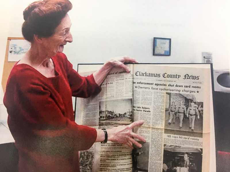 FILE PHOTO - A celebration for local author Kathryn Hurds most recent book, Estacada Sagas will be held at 11 a.m. Saturday, July 15, at 825 N.W. Wade St. Hurd is pictured here looking through The News archives.