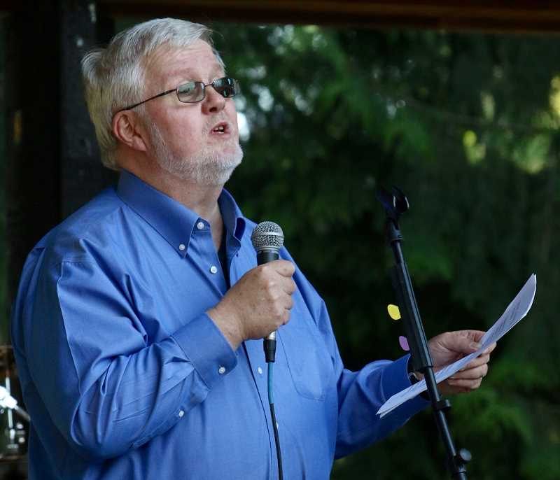 State Senator Richard Devlin took a break from current legislative session to share with the crowd a history of the Fourth of July.