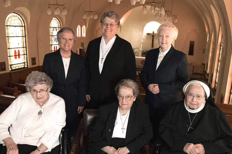 COURTESY SISTERS OF ST. MARY OF OREGON - Seated (left to right): Sr. Sharon Kirk, Sr. Paula Fox and Sr. Clare Vandecoevering. Standing (left to right): Sr. Marianne Giesel, Sr. Charlene Herinckx and Sr. Patricia Marie Landin. These Sisters will be honored for their combined 350 years of service to Sisters of St. Mary of Oregon.