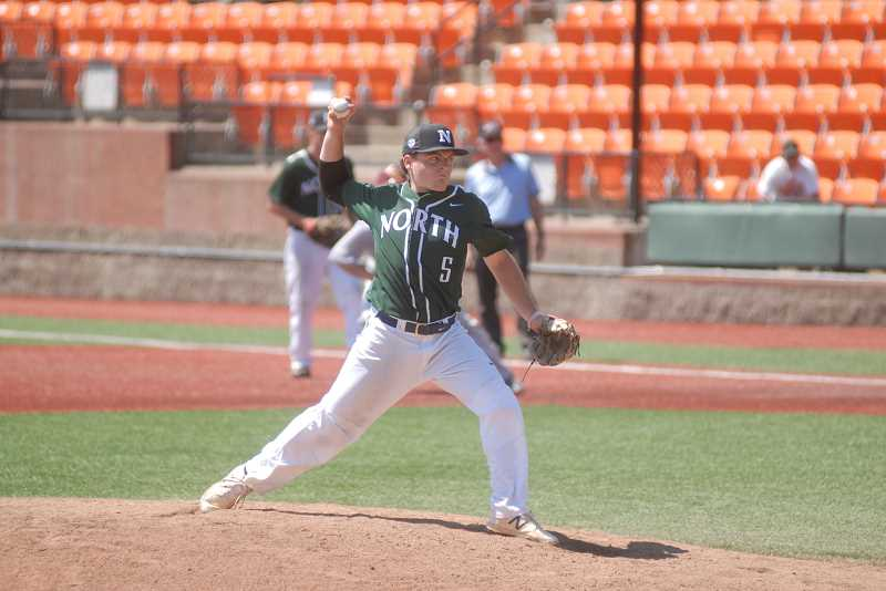 SUBMITTED PHOTO: MATT RAWLINGS - Former Wilsonville pitcher Gage Gloster pitched through an injury at the all-star series.