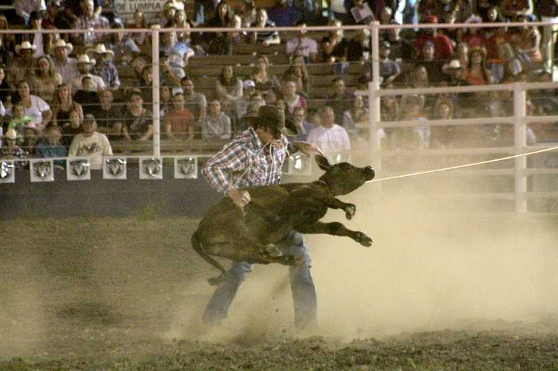 PIONEER PHOTOS: CONNER WILLIAMS - Cade Swor won the tie-down roping with a time of 7.9 seconds.