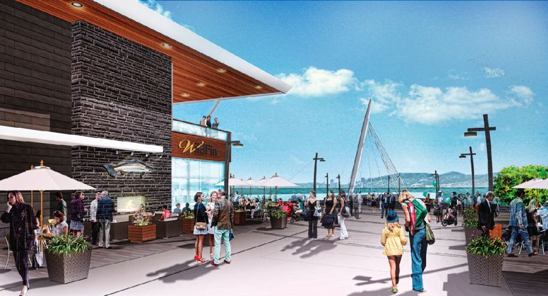 COURTESY: GRAMOR DEVELOPMENT - A rendering looking east to show WildFin American Grill and the Grant Street Pier. The public park designed by Larry Kirkland and illuminated by lighting designer Charles Stone, will be lit at night to make them tourist friendly.