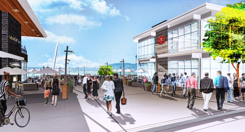 COURTESY: GRAMOR DEVELOPMENT - A rendering looking south shows the restaurants overlooking Grant Street Pier.