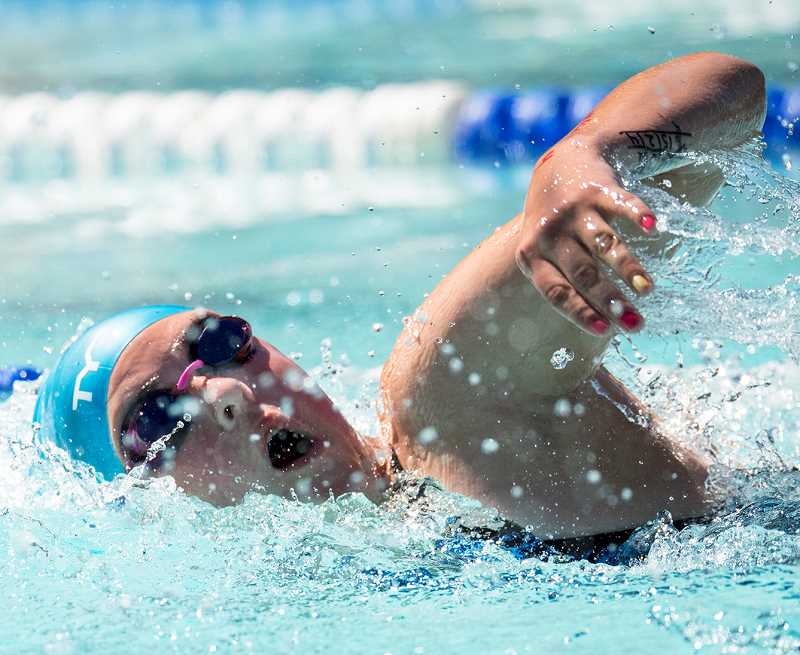 LON AUSTIN/CENTRAL OREGONIAN - Marah Binder swims the 50 freestyle at the swim team's meet in Prineville last week. Binder placed fifth in the 200 free, 100 back, 100 breast, and 200 IM as well as taking sixth place finishes in the 50 free and 400 free as Prineville finished third in the team scoring at Lakeview this past weekend.