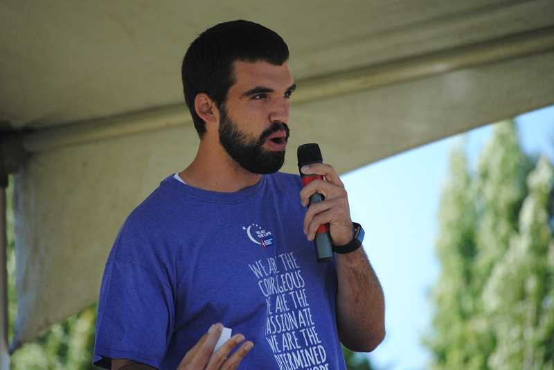Cameron Rutledge, who was diagnosed with cancer as a Forest Grove High School student, spoke to the Relay for Life crowd on Saturday, July 8.
