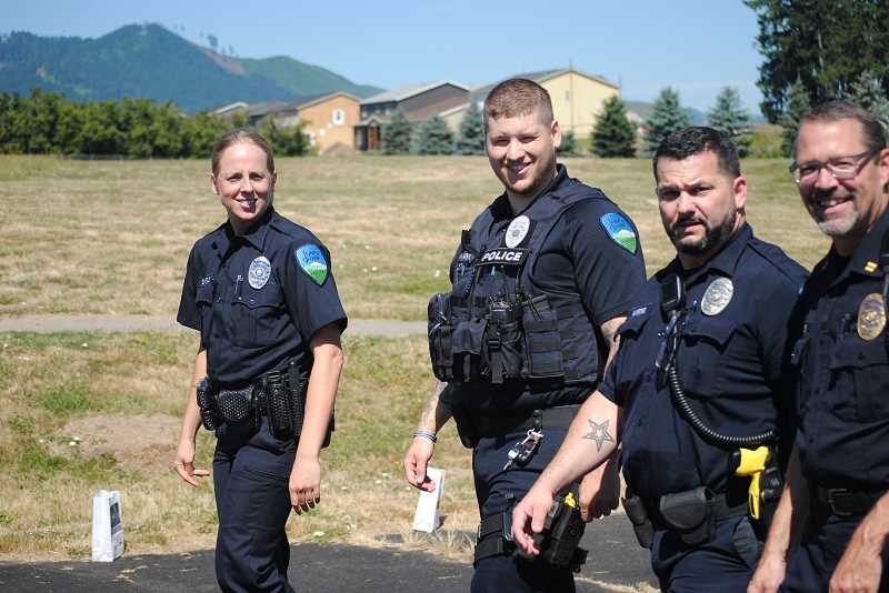 Some Forest Grove police officers volunteered their time at the event.