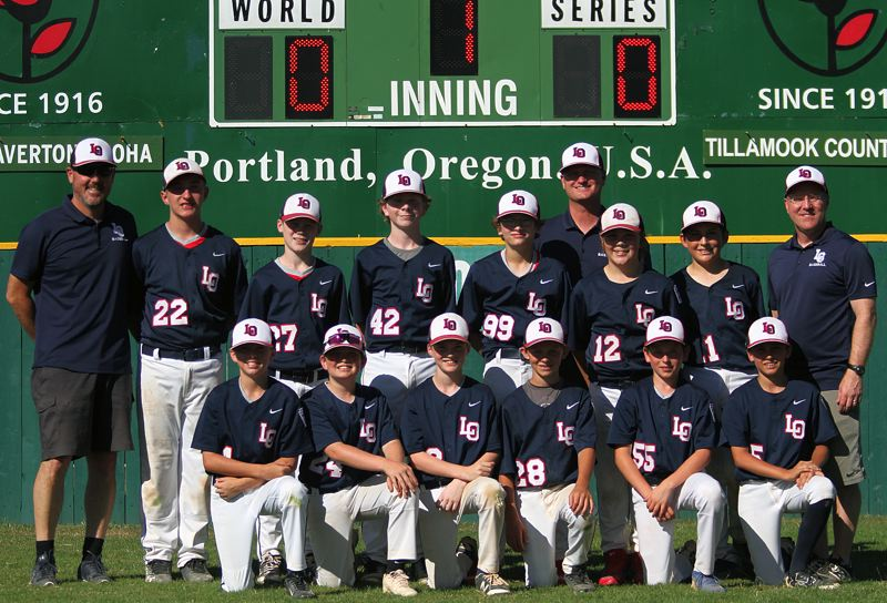 REVIEW PHOTO: MILES VANCE - The Lake Oswego Little League Majors all-star team poses for a picture after its District 4 tournament came to an end with a 12-9 loss to Tigard at Alpenrose Dairy on Sunday.