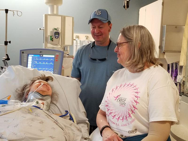 PHOTO COURTESY: MICHAEL GABRIEL - Four days before she died, Norma Gabriel had her happiest day in the intensive care unit, listening to jokes told by her son Michael Gabriel and her dauther Marilyn Gabriel Mills.