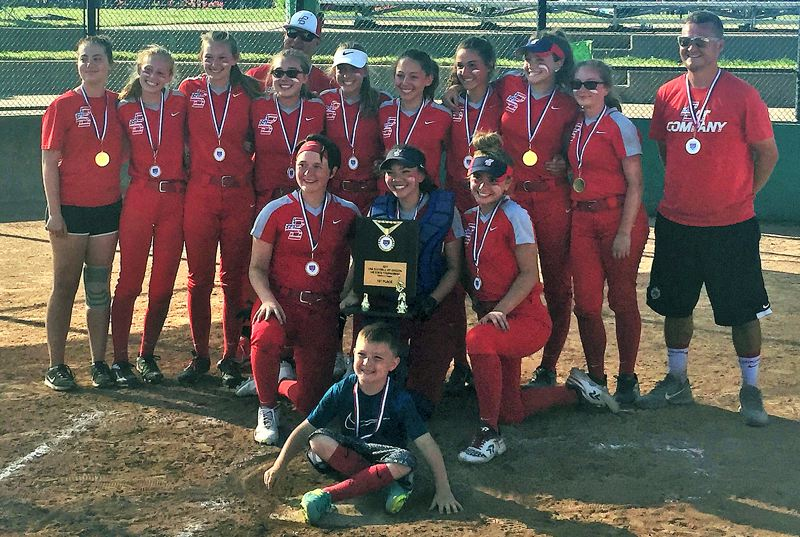 SUBMITTED PHOTO - The Bat Company - which won the Oregon ASA 14U B state title last weekend - included (back row, from left) Savannah Moore, Emma Kaer, Alexandra Stearns, Maddie Wilk, coach Cody Nelson, Kayla Krueger, Rachel Opferman, Macy Lappin, Leanna Rosenbaum, Brooke Wilk, and coach Mike McCormack, (middle row) Faith Adler, Allison Sweeney and Mackenzie Nelson, and (front) bat boy Jason McCormack.