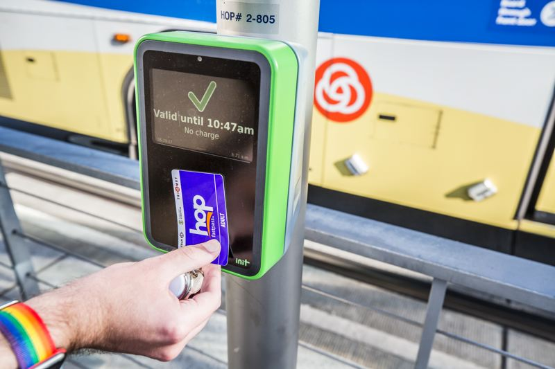 TRIBUNE PHOTO: JONATHAN HOUSE - Following a long period of beta testing, TriMet finally rolled out Hop Fastpass this month, eliminating the need for paper tickets.