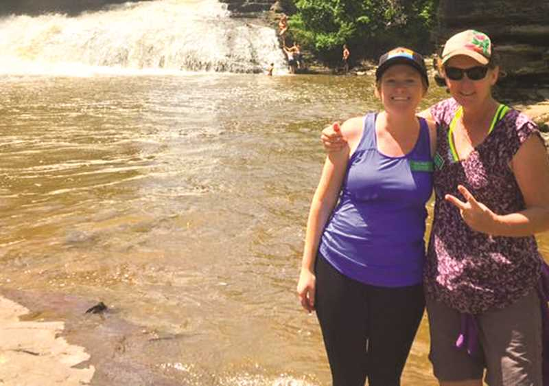 PHOTO COURTESY OF JACKIE LAFRENZ  - Heidi Wilson, left, and Jackie LaFrenz at Muddy Creek State Park in Maryland while attending the Mountain Geography Institute in the Appalachians.