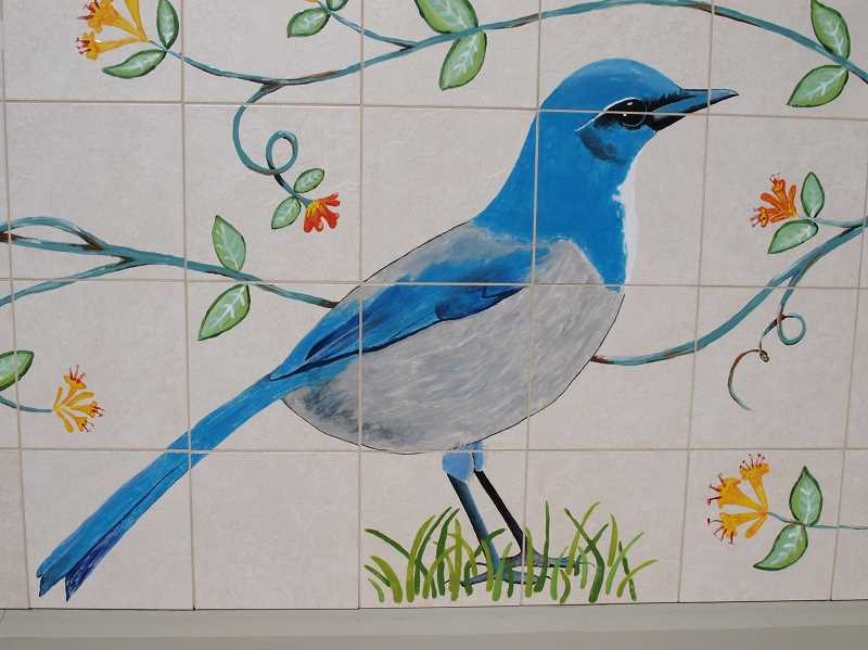 SUBMITTED PHOTO - One of the tiled pieces of artwork done by Wilsonville students.