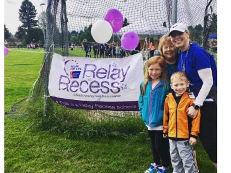 COURTESY OF MARIKA CONRAD - Hopkins teacher Marika Conrad (far right), who organizes the Relay Recess every year, poses wiit her mother and kids during the June 9 event.