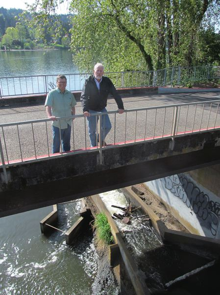 2016 PHOTO BY ELLEN SPITALERI - Greg Baartz-Bowman, left, and Milwaukie Mayor Mark Gamba stand on the bridge overlooking the Kellogg Creek Dam, with the Willamette River in the background. Removing the dam has been the focus of a grassroots campaign for many years. Although it was among City Council's adopted goals for 2015-2016, ODOT has proven to be a barrier since it owns the bridge that's part of the dam structure.