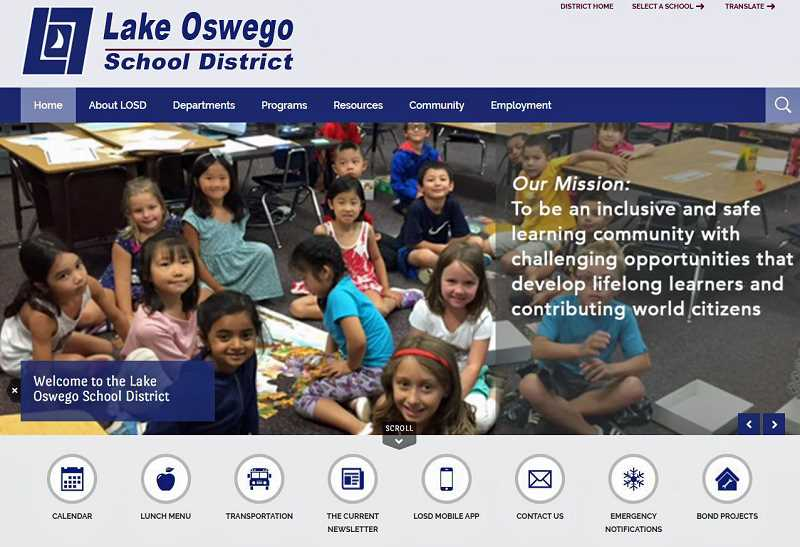 SUBMITTED PHOTO - A screenshot of the main webpage of the Lake Oswego School District's new website: losdschools.org.