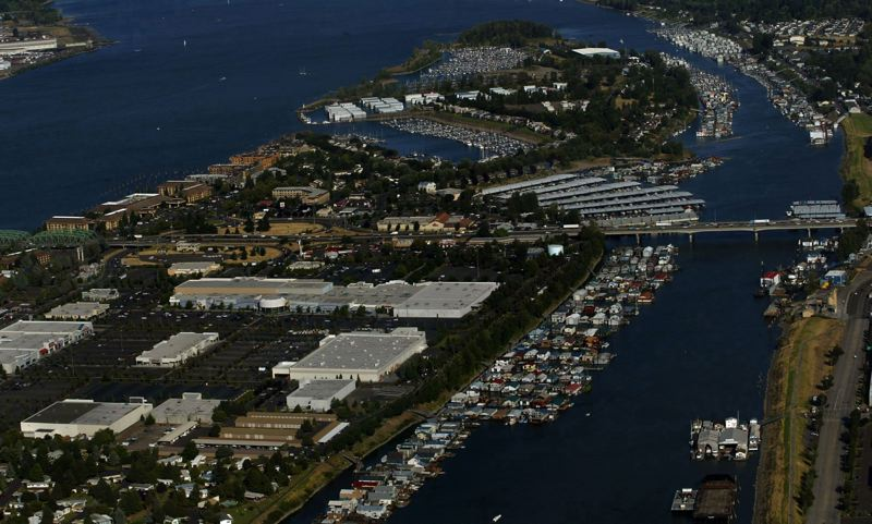 COURTESY: PORT OF PORTLAND - Aerials of Hayden Island and the Jantzen Beach area shows an area of mixed usage featuring housing, business and green spaces