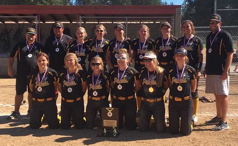 PHOTO COURTESY OF MANDI PUCKETT - Members of the YellowJackets 16U softball team pose with the medals and trophy they earned for winning the age group ASA state championship. The YellowJackets took an 11-10 victory over the Oregon City Nightmare in the championship game. Team members are (top row, left to right) head coach Jeremy Puckett, assistant coach Frank Martinez, Natalie Hill McCoy, Kayla Berg, Ondriah Oyloe, Rylee Stearns, Audrey McKenzie, Kalyn Martinez, and assistant coach Tim Berg. (Front row, left to right includes) Lorena Vasquez, Caitlyn Elliott, Berkley Puckett, Lizzie Steuart, Ashley Owens and Jinya Glenn.