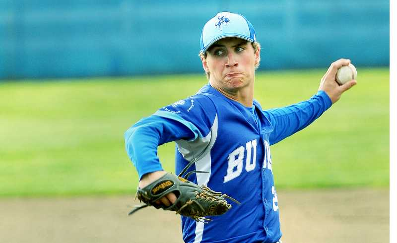 GRAPHIC FILE PHOTO - St. Paul's Justin Herberger allowed one hit in two innings on the mound June 30 at the 2017 Futures Games at Volcanoes Stadium in Keizer.