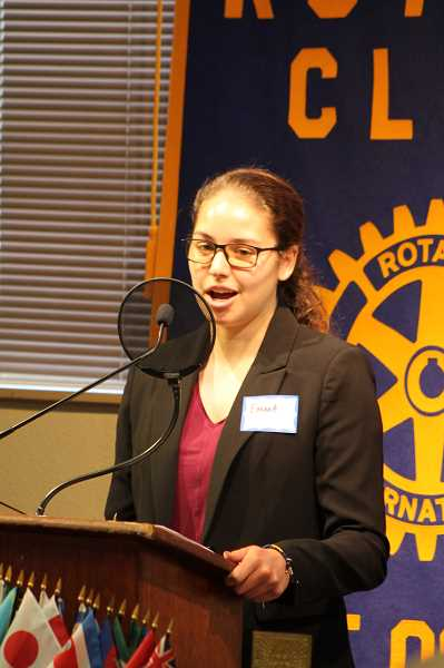 REVIEW PHOTO: JILLIAN DALEY - Emma Carter, a Lake Oswego High School graduate, received one of the Service Above Self Scholarships from Lake Oswego Rotary Club. Carter will be attending the University of Michigan.