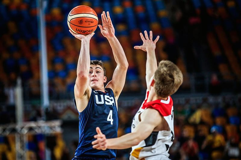 COURTESY: FIBA - University of Oregon point guard Payton Pritchard takes a shot for Team USA in the U-19 World Cup.