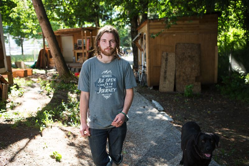 PORTLAND TRIBUNE: ADAM WICKHAM - Bob Brimmer says that helping to build Hazelnut Grove, where he now lives with his dog, Scipio, gave him a sense of purpose that helped him clean up his act.