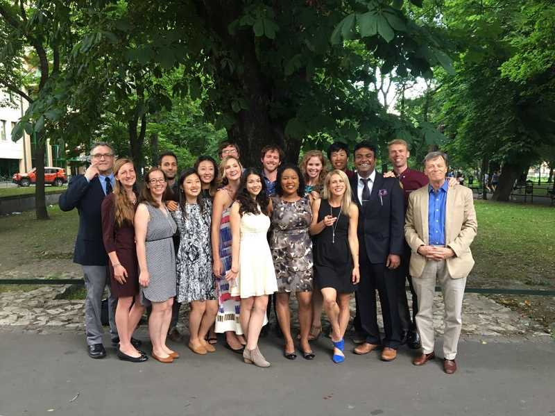 COURTESY ALEXA KANBERGS - Alexa Kanbergs, third from right in the front row, was one of 15 medical students to take part in a two-week program facilitated by the Fellowships at Auschwtiz for the Study of Professional Ethics.