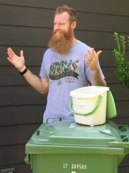 SUBMITTED PHOTO: CITY OF LAKE OSWEGO - Former Timbers player Nat Borchers and his famous beard star in a series of videos promoting Lake Oswego's residential composting program.