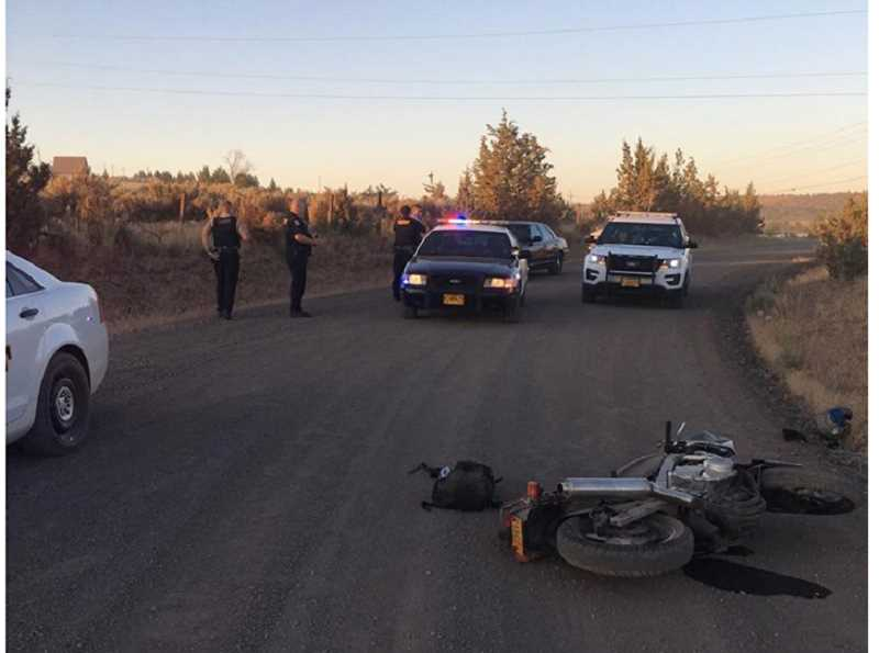 SUBMITTED PHOTO - The Jefferson County Sheriff's Office and Madras Police Department pursued a stolen motorcycle July 5. The motorcycle crashed, and the suspect was taken into custody.