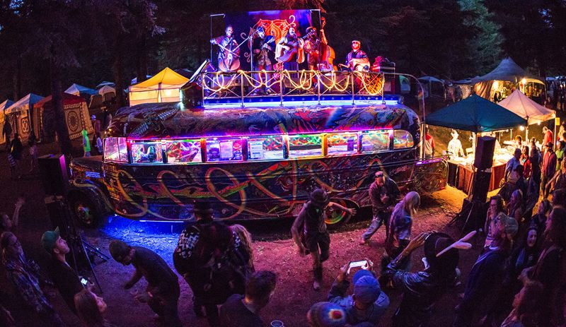 COURTESY: NW STRING SUMMIT - Among the stages at the Northwest String Summit is the Furthur Tweener Stage, which sits atop the 'Furthur' bus made famous by Ken Kesey and the Merry Pranksters.