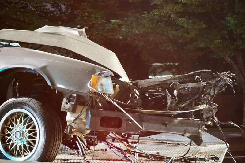 KOIN 6 NEWS - Fire crews had to cut this car apart to extract the victim in Thursday's crash.