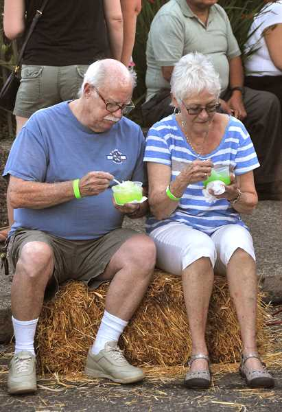 Dan Eustler and Cheryl Church enjoy shaved ice as they take in the music.
