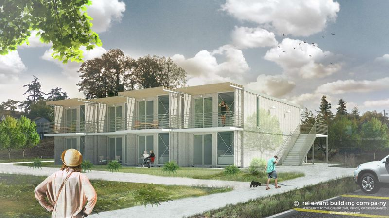 CONCEPTUAL IMAGES COURESTY OF CARL COFFMAN - A conceptual drawing of the eight-unit housing development. Developer Carl Coffman proposed building these homes as an affordable housing option in St. Helens.