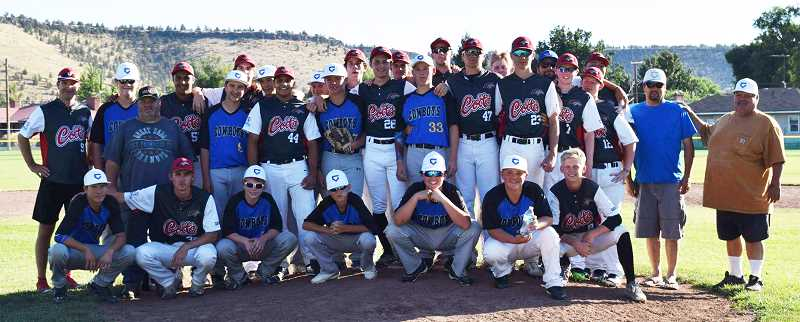 PHOTO COURTESY OF CROOK COUNTY BASEBALL. - A team made up of Crook County High School and middle school players pose with the visiting team from Australia following the first game of their doubleheader.
