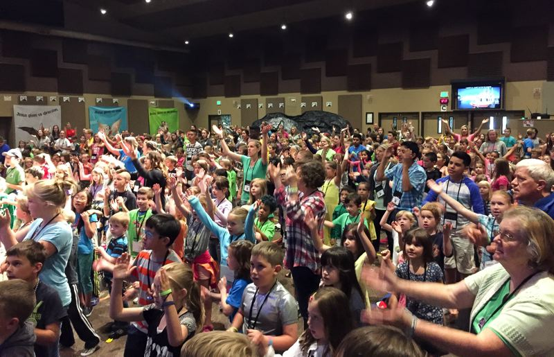 CONTRIBUTED PHOTO - Grace Community Church expects to host more than 500 children this year at vacation Bible school. This was part of the group from last year.