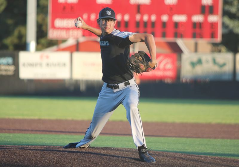 REVIEW/NEWS PHOTO: JIM BESEDA - Clackamas junior right-hander Jeff Nelson has taken over the No. 1 spot in the rotation following the graduation of Caden Hennessy and K.C. Reilly.